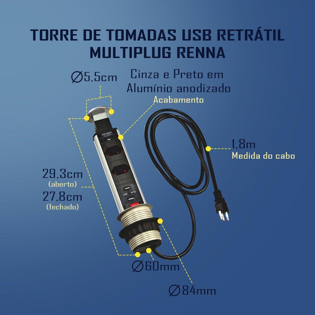 Medidas Torre de Tomadas USB